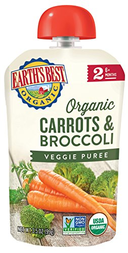 Earth's Best Organic Stage 2, Carrots & Broccoli, 3.5 Ounce Pouch (Pack of 12) (Packaging May Vary) - Prunes Organics Stage 2