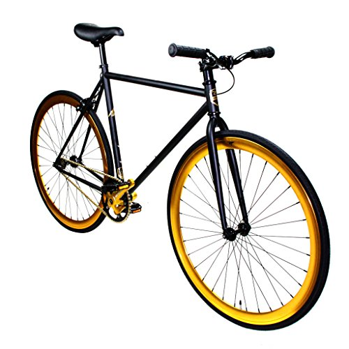 Zycle Fix Fixed Gear Bike Black Gold Fixie 55cm