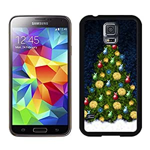 S5 Case,Colorful Decorated Christmas Tree TPU Black Case For Galaxy S5,Samsung Galaxy S5 I9600 Protective