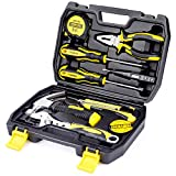 DOWELL 9PCS Small Tool Kit,Mini Portable Tool Set,Home Repair Hand Tool Kit with Plastic Tool box Storage Case