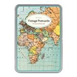 Amazon cards card stock office products greeting cards cavallini vintage world map carte postale 18 postcards per tin gumiabroncs Gallery