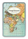 Cavallini Vintage World Map Carte Postale, 18 Postcards per Tin