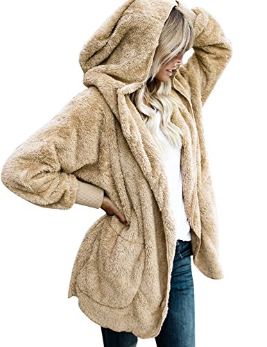 ACKKIA Women's Casual Draped Open Front Oversized Pockets Hooded Coat Cardigan Apricot Size XX-Large (US 20-22) by ACKKIA (Image #1)