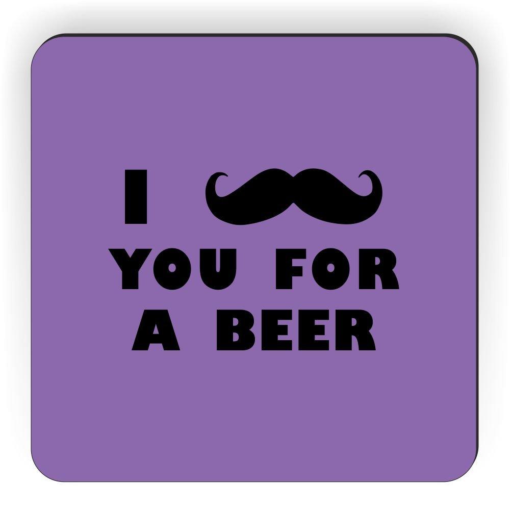 Rikki Knight I Mustache You for a Beer Design Square Fridge Magnet Violet