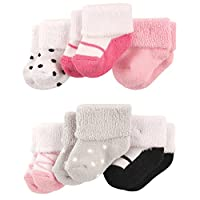 Luvable Friends Baby Newborn Terry Socks 6-Pack, Ballet Shoes