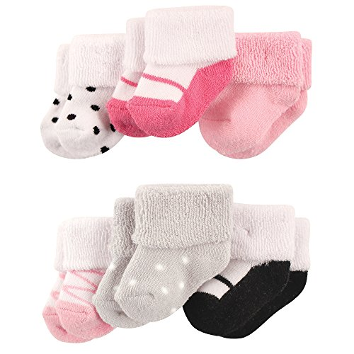 Luvable Friends Baby Newborn Terry Socks, 6 Pack, Ballet Shoes, 0-3 Months
