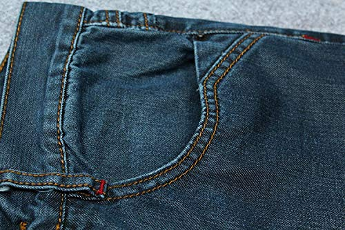Pantaloni Vita Fit Stretch Uomo Con Blu Jeans Pants Da Denim Media In Slim Dritti Casual Vintage wTzOqvF