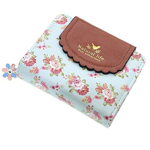 ETIAL Women's Vintage Floral Zip Mini Wallet Short Design Coin Purse Green