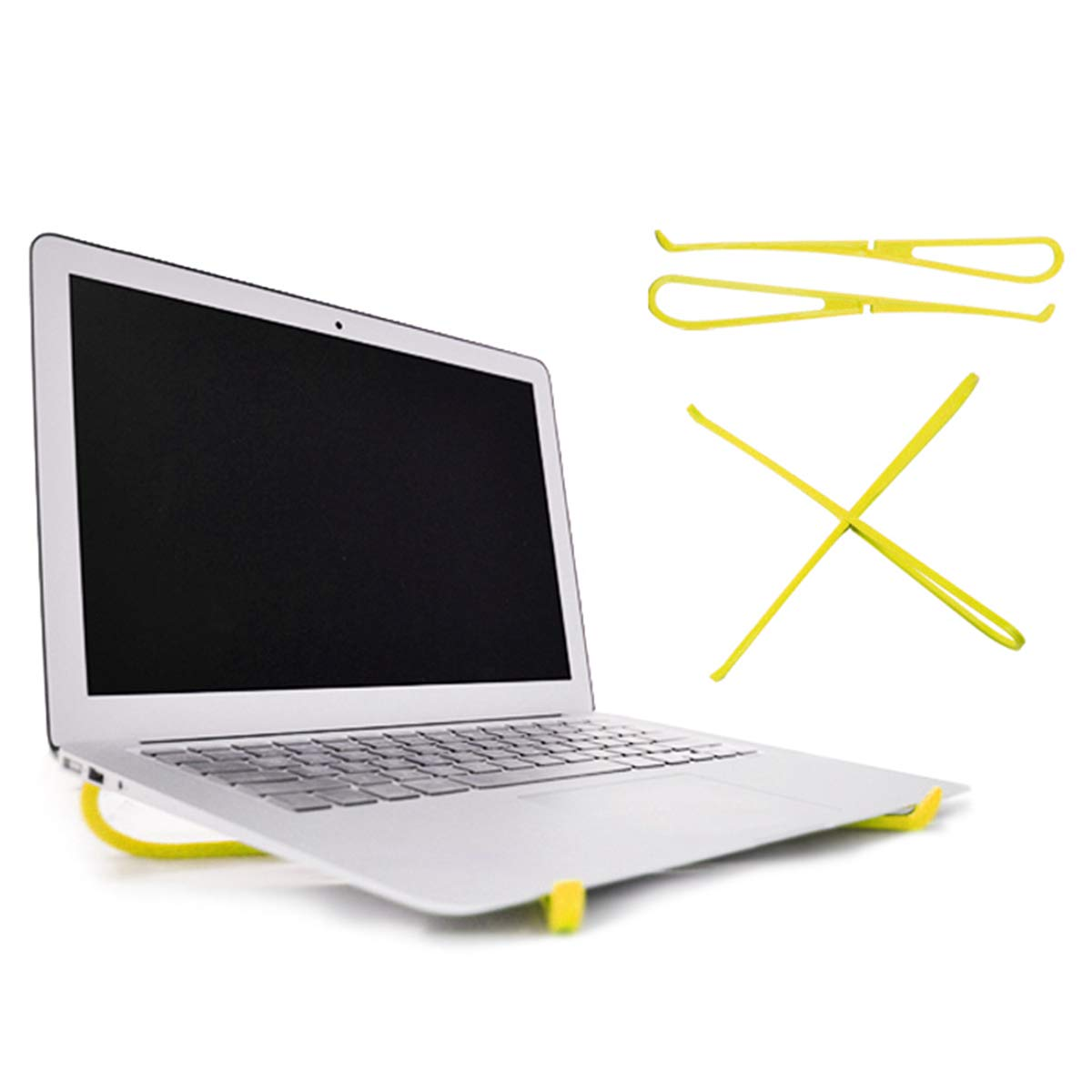 Laptop Stand, Shengchang Laptop Portable Cooling Rack PC Monitor Riser Adjustable Desktop Holder Ergonomic Lightweight Compatible for Apple MacBook Pro/Air and Other 15-Inch Notebook (Yellow)