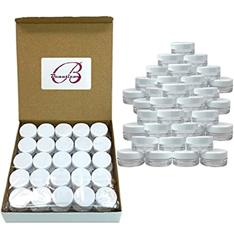 (50 Pcs) Beauticom 5G/5ML High Quality Clear Plastic Cosmetic Container Jars with White Lids - Makeup Jars