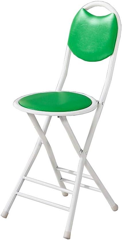 Silla plegable, Silla plegable pequeñas y redondas, Presidente del Partido, Silla plegable de cuero PU, portátil Kid silla de metal, de un solo clic plegable for un fácil manejo y ahorro de