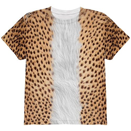 Halloween Cheetah Costume All Over Youth T Shirt Multi YMD ()