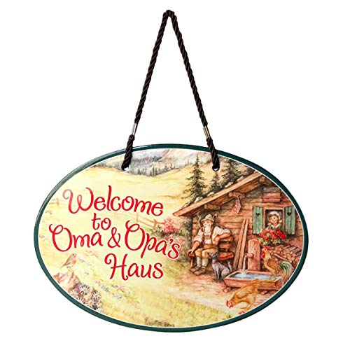 Essence of Europe Gifts E.H.G Oma & Opa's House Ceramic Door Sign Alpine Design (H Ell)
