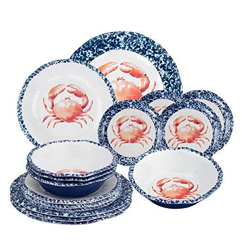 Gourmet Art 16-Piece Crab Melamine Dinnerware Set