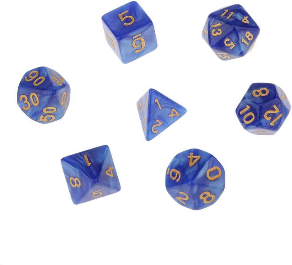 7pcs Juegos de Mesa Dados Multi Caras TRPG D4-D20 Patrón Perla con Puntitos Dorados - Azul: Amazon.es: Juguetes y juegos