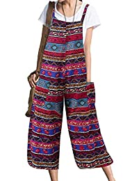 BLTR Women Cotton Linen Printted Capri Over Sized Rompers Jumpsuit Overalls
