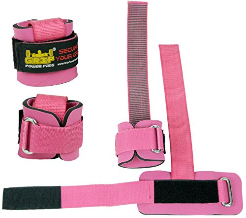 Grip Strap Pad - Best Heavy Duty Lifting Straps Neoprene Padded 1 Pair Wrist Wraps & Rubbery Grip Support Straps & Cotton Coated Rubber on One Side Alternative to Power Lifting Hooks Weightlifting Grip Pad