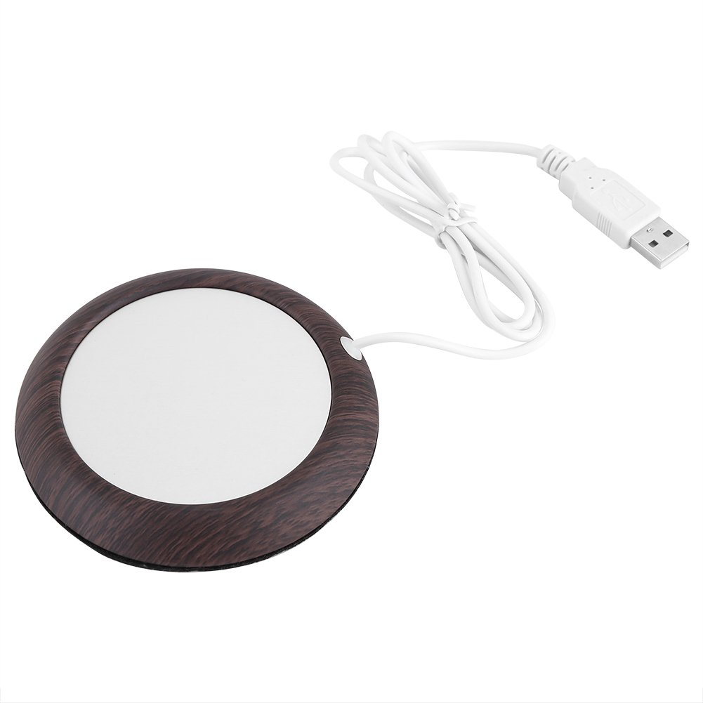USB Tea Mug Warmer, Electric Cup Warmer Mat Heat Beverage Mug Office Tea Coffee Milk Heater Coaster Pad Thermostat Dark Wood Grain by Zerone