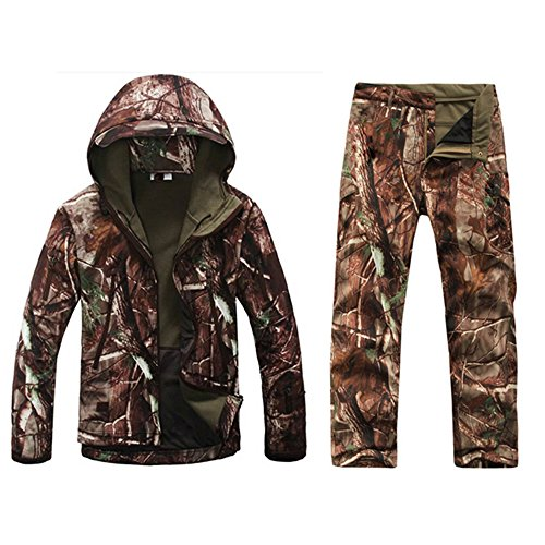 Eglemall Men's Hunting Soft Shell Tactical Fleece Jackets and Pants ()