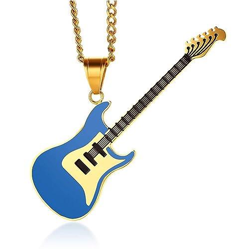 BOBIJOO Jewelry - Gran Collar De La Guitarra Eléctrica Rock De Acero De Oro Oro Negro Azul Rojo + Cadena - (Color) Azul: Amazon.es: Joyería