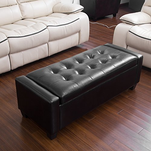 Erfect Faux Leather Storage Ottoman Folding Storage Bench Black