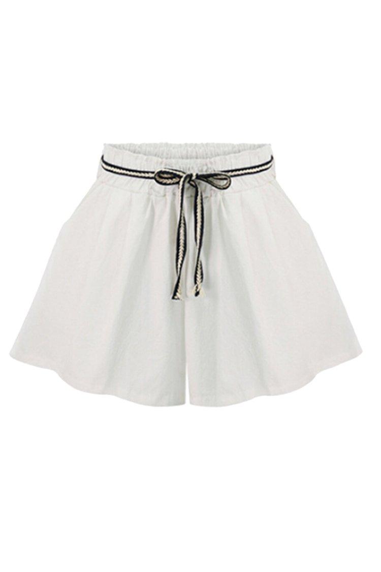 COOleggings Womens Wide Leg Cotton Elastic Waist Shorts With Pockets White 6XL