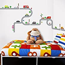 Decowall DW-1204 10 Transports and Roads Kids Wall Decals Wall Stickers Peel and Stick Removable Wall Stickers for Kids Nursery Bedroom Living Room