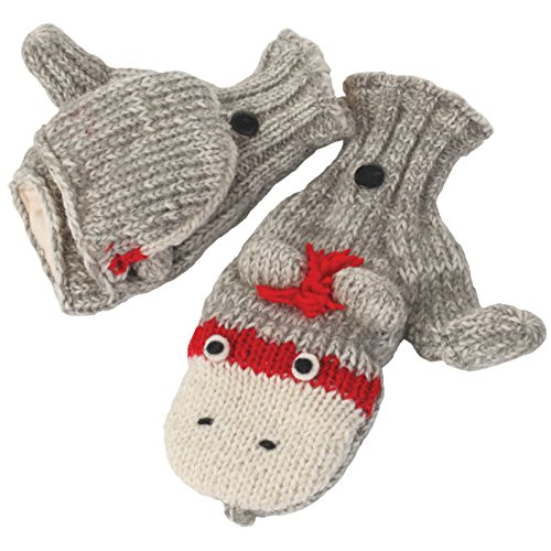 Nirvanna Designs MTCUTEC Cute Monkey Cover Mittens, Grey, (Monkey Wool Mittens)