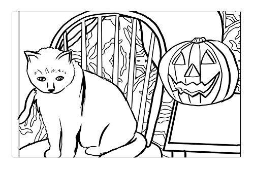 Tree26 Indoor Floor Rug/Mat (23.6 x 15.7 Inch) - Cat Ghost Pumpkin Halloween Artwork Coloring Page