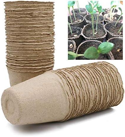 Tancurry 100 Stück Abbaubare Pflanzen Gartensämling Anzuchttöpfe Gemüsesamen Pflanzschalen Zellulose Pflanzentopf Torftöpfe