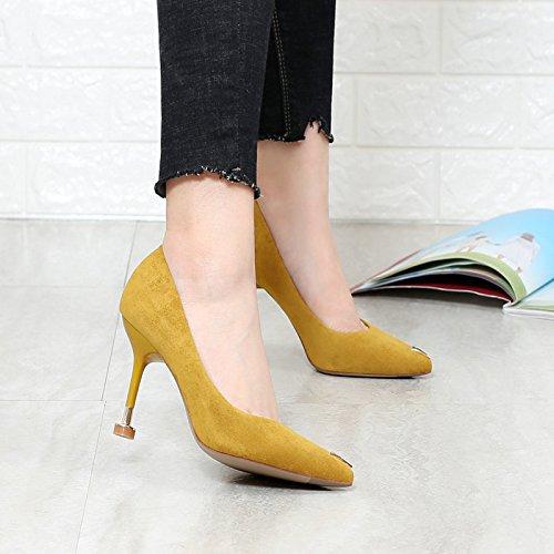 khskx-europe y los Estados Unidos de moda temperamento zapatos de cercanías hierro Shallow señaló talón de ante con tacón amarillo, Thirty-five Thirty-eight