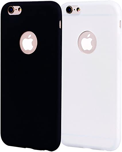 Funda iPhone 6 Plus, Carcasa iPhone 6S Plus Silicona Gel, OUJD Mate Ca6S Plus Ultra Delgado TPU Goma Flexible Cover para iPhone 6 Plus/6S Plus - Negro + Blanco: Amazon.es: Oficina y papelería