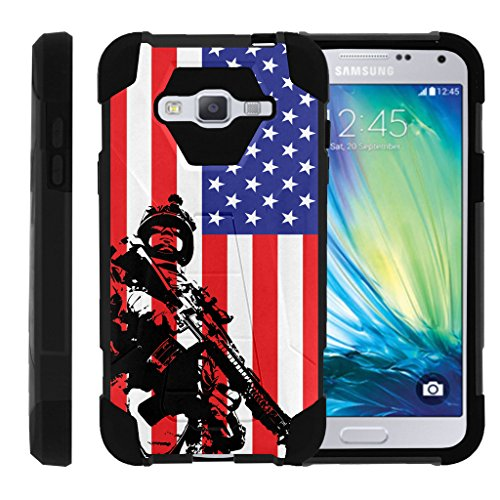 TurtleArmor | Samsung Galaxy J3 Case | Amp Prime | Express Prime | Sol | Sky [Dynamic Shell] Hard Kickstand Hybrid Shock Silicone Cover Military War Army Camo Design - American Soldier