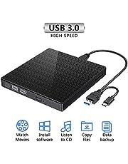 Lecteur de CD Externe, graveur et Lecteur de CD-RW/VCD-RW Portable à Double Port USB 3.0 de Type C à Double Port pour Lecteur MacBook, Ordinateur Portable, de Bureau, Win 7/8/10 / XP