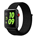 Esay Watch Sport Loop Band, Hook and Loop Fastener Adjustable Closure Wrist Strap Lightweight Breathable Nylon Replacement Band for Apple Watch Nike+, Series 3/2/1, Sport, Edition (42MM, Dark Black)