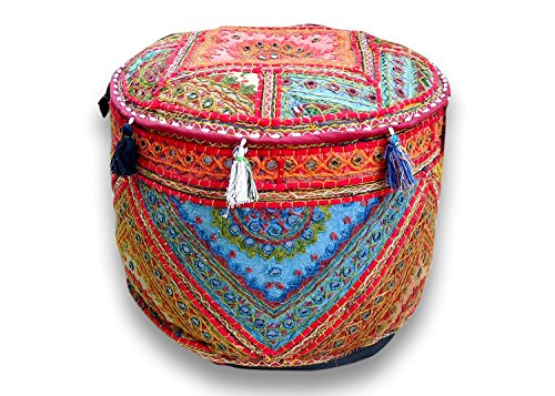 Indian Handmade Ottoman Pouf ,Vintage Patchwork Ottoman, Home Living Room Decorative Foot Stool Cover,Embroidered Chair Cover 13×18 Inch.