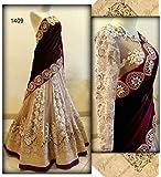 FAB IKSHVAKU Women's Velvet Embroidered Semi-stitched Lehenga Choli KRIS_Maroon_Choli_Free Size