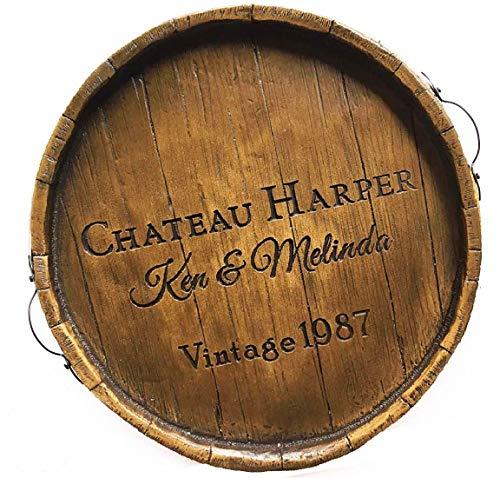 Wine Barrel Serving Tray Personalized (Ottoman Barrel Wine)