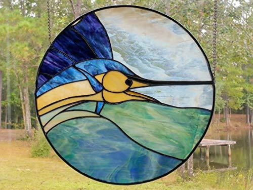 Handmade Stained Glass Sailfish Istiophorus Marlin Wall Hanging Ocean Window Art Suncatcher Island Beach House Decor ()