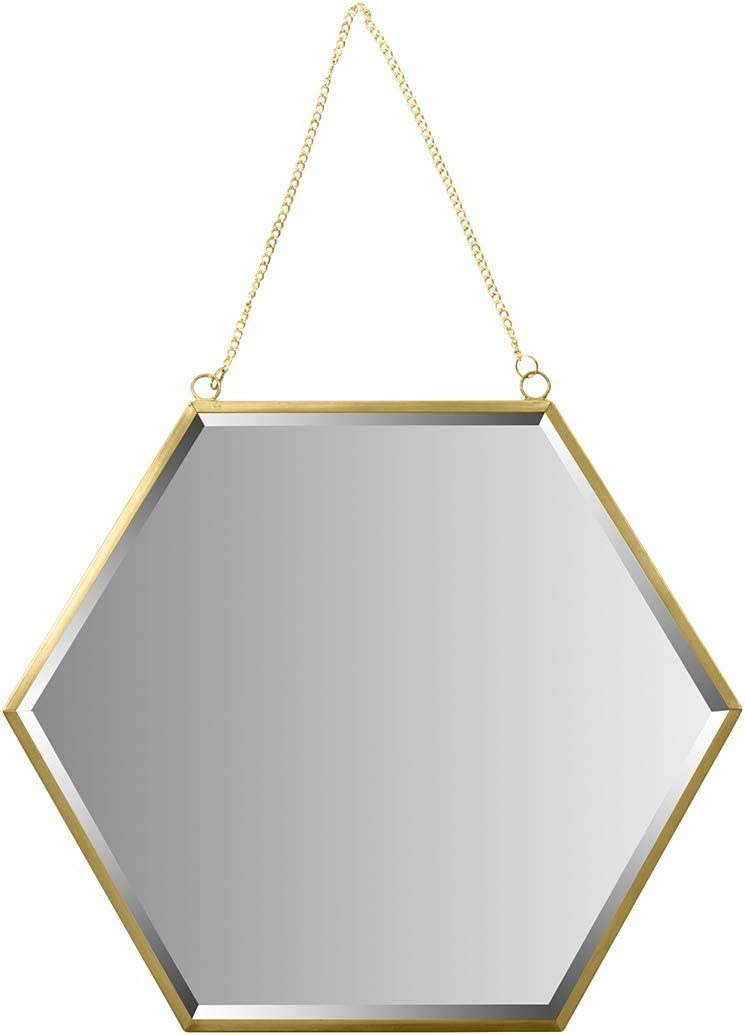 Koyal Wholesale Wall Mirror with Detachable Hanging Chain, Table Mirror for Centerpiece, Round Vanity Mirror (Gold, 12-Inch Hexagon)