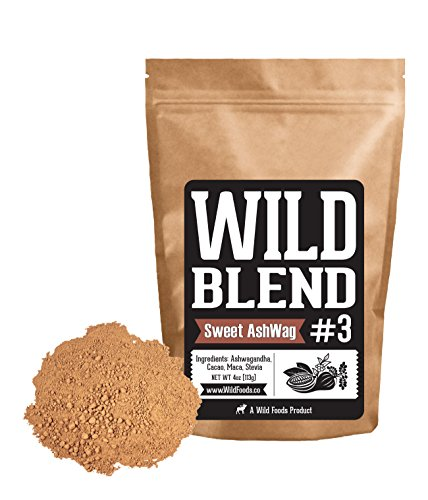 Wild Blend #3 Powder Drink Mix Ashwagandha, Cocoa Powder and Raw Maca Blend for Smoothies, Shakes, Coffee, Baking - Health, Performance, Nootropic (#3 Sweet AshWag - 8 oz) (Chocalate Gifts)