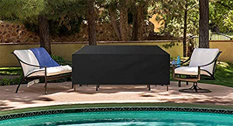 Silvotek Lona Resistente 420D Fundas para mesas de Jardin - Fundas para Muebles de Jardin con cordón de Dobladillo Duradero, Fundas para mesas Fundas para Muebles de terraza: Amazon.es: Jardín