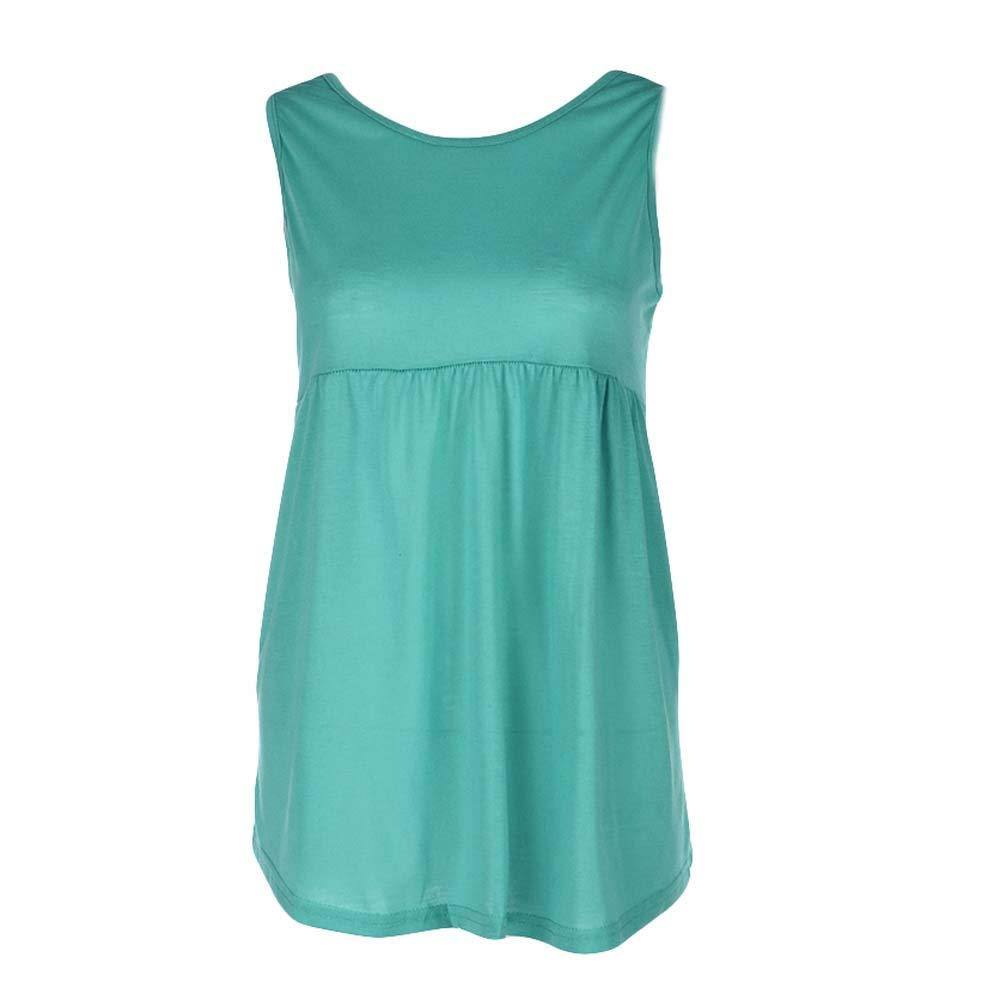 Women Fashion Plus Size Reflective Vest Cami Summer Sleeveless Top Cotton Shirt Blouse Scoop Neck Green