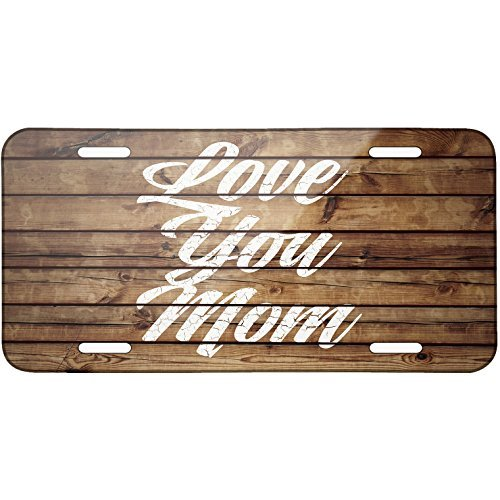 Painted Wood Love You Mom Metal License Plate 6X12 Inch