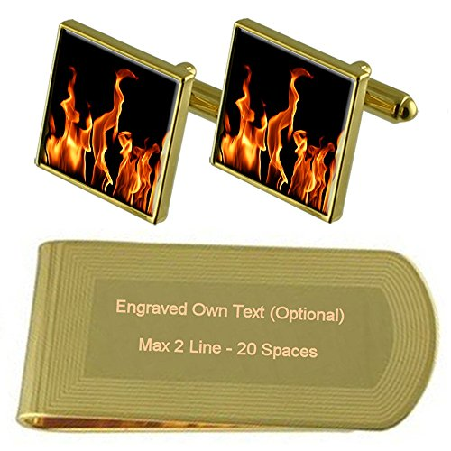 Set Flames Clip Engraved Gold Gift Fire Cufflinks tone of Money pUzpwq6