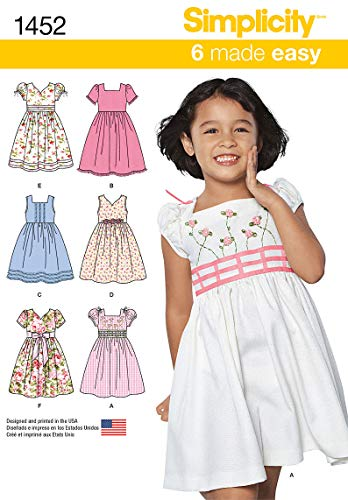 Simplicity Girls Dress - Simplicity 1452 Easy to Sew Girl's Dress Sewing Patterns, Sizes 3-8