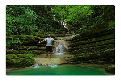 Indoor Floor Rug/Mat (23.6 x 15.7 Inch) - Lake Forest Waterfall Sinop Trees Green Water 1