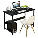 DL furniture - Computer Desk office table, stable Metal frame wood surface, Wood Work-Station Study Home Office Furniture/Black