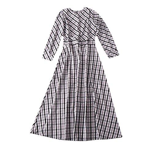 Women Long Sleeve Checked A-Line Maxi Dress