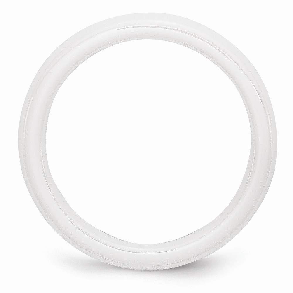 Size 6 Ceramic White 4mm Polished Band Ring